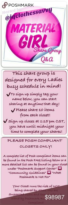 Daily sheets in ACCESSORIES; Closes 11:15 am Pac CONVERSATION * QUESTION * All closet styles welcome! We are a Large share group. We Do review shares for fairness to all. This page for any questions and tagging those that may be interested in our share group! Please READ SLIDES ABOVE AND SLIDES ON DAILY SIGN IN SHEET. Daily sign up sheet are categorized by ACCESSORIES for faster access. Day and Date are the headline, sign up for the day(s) that your schedule allows time to share. We average…
