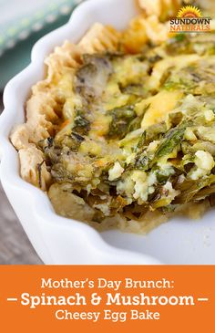 Make this Mother's Day the best ever with this yummy Spinach & Mushroom Cheesy Egg Bake! This egg-based casserole is gluten-free, packed with hearty veggies and infused with melted cheese, making it the perfect choice for breakfast or brunch. Breakfast Dishes, Breakfast Time, Breakfast Recipes, Quiches, Low Carb Recipes, Cooking Recipes, Brunch Recipes, Dinner Recipes, Melted Cheese