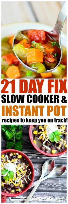 21 Slow Cooker and Instant Pot 21 Day Fix Recipes to keep you on track with your 21 day fix diet, delicious options! 21 Slow Cooker and Instant Pot 21 Day Fix Recipes to keep you on track with your 21 day fix diet, delicious options! Crock Pot Recipes, Slow Cooker Recipes, Cooking Recipes, Pressure Cooker Recipes Vegetarian, Slow Cooking, Crockpot Meals, Pressure Cooking, Potato Recipes, Pasta Recipes