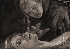 Johnny Alucard (Christopher Neame) prepares to sacrifice Laura (Caroline Munro) in 'Dracula AD1972'. Freehand sketch using 2B, 4B pencils and eraser. Darkened and tinted digitally.