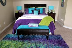 "my ""peacock"" guest bedroom - Home - Bedding Master Bedroom Purple Bedrooms, Bedroom Green, White Bedroom, Dream Bedroom, Master Bedroom, Gold Bedroom, Living Room Colors, Bedroom Colors, Living Rooms"