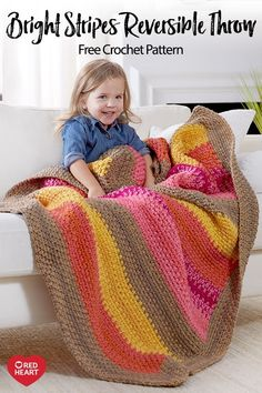 Bright Stripes Reversible Throw free crochet pattern in With Love yarn. Crocheting this throw with two strands of yarn, gives it a nice weight, adds color interest and speeds your crocheting along. This throw has the bonus of looking the same on both sides making it reversible!