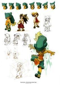 Croquis de recherche sur Yugo (art book Xa Colors sur Wakfu et Dofus):
