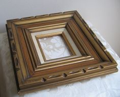Superior Vintage Mexican Mid Century Carved Brown Combed Wood Picture Frame