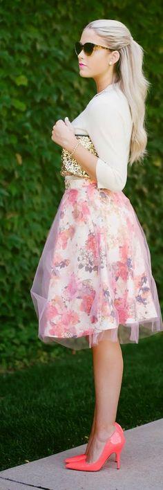 White And Pink Organza Layered Midi A-skirt by Cara Loren