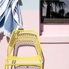 This photo by @mrjasongrant is giving us spring fever. Hot Mesh Chair in natural yellow. #hotmesh #bludot #springcolors