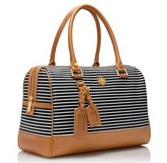 Black and White Stripe Viva Satchel Cute Handbags, Beautiful Handbags, Fashion Bags, Fashion Accessories, Estilo Navy, Cute Bags, Tory Burch Bag, Purses And Bags, Satchel