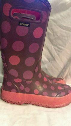Bogs Dots Rainboots size 1 Purple Pink Mid-Calf flat heel 71452-540 #Bogs…