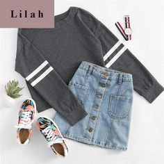 Deep Grey Varsity Striped Crop Round Neck Long Sleeve T-shirt - Shop Now Teenage Outfits, Teen Fashion Outfits, Outfits For Teens, Girl Outfits, Womens Fashion, Cute Casual Outfits, Sporty Outfits, Cute Summer Outfits, Casual Summer