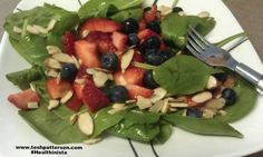 Nice mid-afternoon snack: 2 cups spinach, 3 strawberries, 1/3 cup blueberries, sprinkle of almonds all tossed with olive oil & peach vinegar.