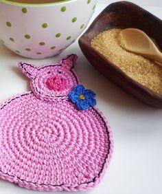 Crochet Pig Coasters (2 pc) via Etsy