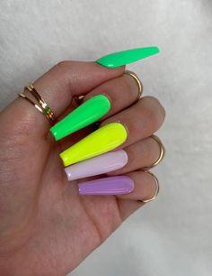 Bright Nails Neon, Neon Acrylic Nails, Bright Summer Acrylic Nails, Neon Nails, Glue On Nails, Neon Yellow Nails, Summer Stiletto Nails, Neon Nail Art, Colorful Nail Art