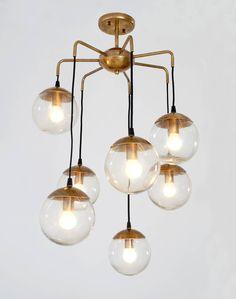 Mid Century Modern Handcrafted Bubble Glass Balls & Brass Chandelier Ceiling Light diam 27 £444