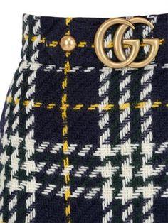 gucci - women - skirts - macro prince of wales wool knit skirt