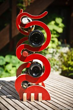 Intert-Wine-d Wine Rack Laser Cutter Projects, Cnc Projects, Objet Deco Design, Wooden Wine Boxes, Laser Art, Wine Display, Wine Bottle Holders, In Vino Veritas, Scroll Saw Patterns