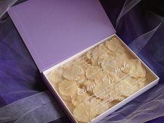 Wedding Invitation box - I loved this idea. // printed on clear w/ cool stuff underneath!