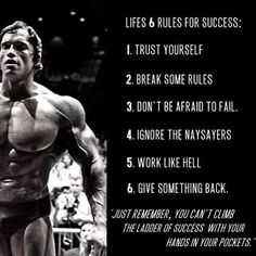 #Arnolds 6 rules to success #FitFam #Motivation…