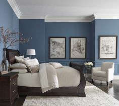 Blue color with white crown molding inspiration blue in bedroom decor bedroom colors and blue bedroom master bedroom paint ideas with dark furniture Romantic Master Bedroom, Small Master Bedroom, Master Bedroom Design, Beautiful Bedrooms, Home Decor Bedroom, House Beautiful, Master Bedrooms, Modern Bedroom, Bedroom Black