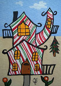 """Christmas Decor Funhouse"" Original Painting Artist Trading Card  Julie Ellison Artist"