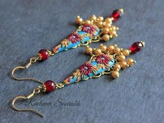 Deep Burgundy, Burgundy Color, Monthly Challenge, Royal Colors, Peacock Blue, Polymer Clay Earrings, Bead Art, Chandelier Earrings, Color Inspiration