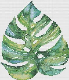 Cross Stitch Pattern Palm Leaf Tropical Green by OceanBlueDesign