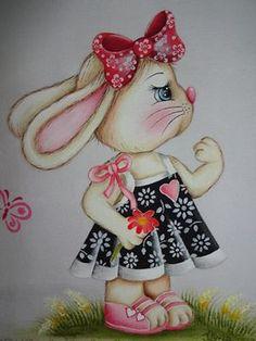 Pintura em tecido - Coelha
