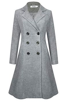 2c4c4a74173d APTRO Women's Double Breasted Wool Coat Long Winter Lapel Trench Coat  (X-Large,