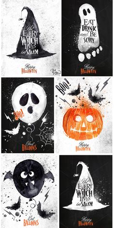 halloween poster Halloween set by Anna on Creative Market Halloween 2018, Halloween Poster, Holidays Halloween, Diy Halloween, Happy Halloween, Halloween Decorations, Kawaii Halloween, Modern Halloween, Vintage Halloween