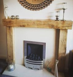 Traditional solid oak beam fire surround with fitting kit. Oak Fire Surround, Wooden Fireplace Surround, Fireplace Beam, Cosy Fireplace, Fireplace Surrounds, Fireplace Design, Oak Mantel, Feature Wall Living Room, Wood Beams