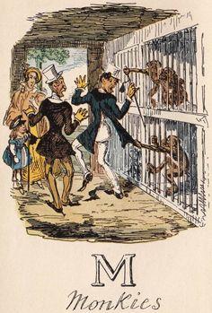 """M: Monkies"" from ""A Comic Alphabet"" by George Cruikshank (1836) - Note his spelling of ""monkeys"""