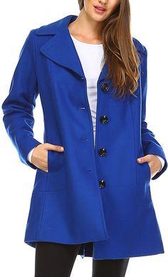 Cobalt Wool-Blend Button-Up Coat
