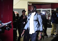 Draymond Green of the Golden State Warriors arrives before the game between the Cleveland Cavaliers and the Golden State Warriors in Game Three of...