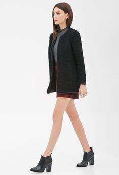 Collarless Bouclé Coat - Shop All - 2000117533 - Forever 21 EU