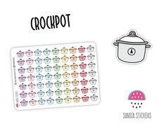 Doodle Crockpot Planner Stickers, Erin Condren, Plum Paper Planner, Filofax,Kikkik, Limelife. by SandiaStickers on Etsy