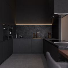 B/A - flat Interior design of contemporary apartmentin Mosc. B/A - flat Interior design of contemporary apartmentin Moscow/dark grey kitchen interior design Grey Kitchen Interior, Contemporary Kitchen Interior, Dark Grey Kitchen, Grey Kitchen Designs, Interior Design Minimalist, Black Interior Design, Luxury Kitchen Design, Kitchen Room Design, Grey Kitchens