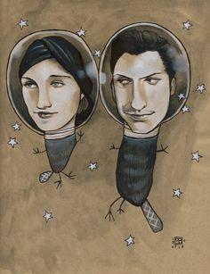 Beavers in Space art print