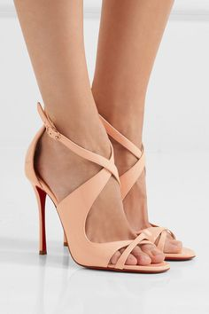 Heel measures approximately 100mm/ 4 inches Pastel-pink patent-leather Buckle-fastening ankle strap  Designer color: Poudre Made in ItalySmall to size. See Size & Fit notes.