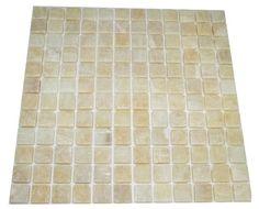 1x1 Honey Onyx Square Pattern Tumbled Mosaic Tile. #Square_pattern #oney_onyx_tile #onyx_bathroom_tile