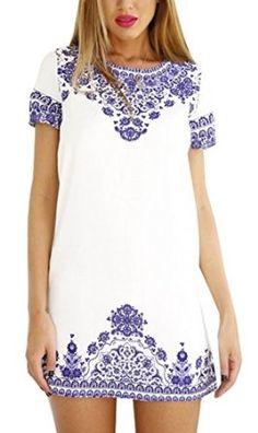 Creabygirls Womens Blue White Porcelain Print Summer Dress | Amazon.com