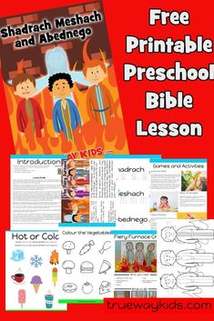 Free printable Bible lesson on Shadrach, Meshach, and Abednego . Included worksheets, coloring pages, crafts and more. Based on Daniel 1 - Includes the fiery furnace. Free Sunday School Lessons, Sunday School Curriculum, Sunday School Activities, Preschool Bible Lessons, Bible Lessons For Kids, Preschool Activities, Preschool Class, Bible Activities, Bible Coloring Pages