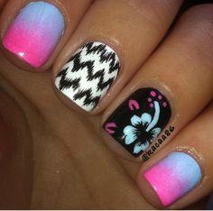 Cute chevron nail designs & flower nail by @Katarina Rajsic