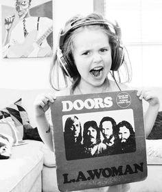 Vinyl love. Little girl listening to the Doors...L.A. Woman.