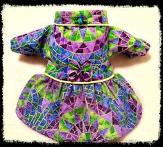 Breathtaking Stained Glass Print in Soft Cotton Dog Fashion With Exclusive Handmade Lampwork Beads by NakedDogStudio On Etsy