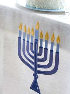 Festive Paper Menorah Tablecloth - Celebrating Hanukkah: Easy and Stylish Jewish Holiday Ideas on HGTV Jewish Hanukkah, Hanukkah Crafts, Jewish Crafts, Hanukkah Decorations, Hanukkah Menorah, Happy Hanukkah, Hannukah, Jewish Art, Jewish Celebrations