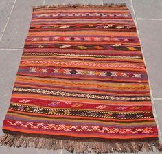 "Antique Turkish Kilim Fragment 39"" x 54"" Hand Woven Wool Rug 100 cm x 137 Cm   eBay"