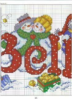 Con Punto de cruz: Punto de cruz Navidad, papa Noel y hombre de nieve