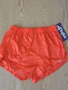 DOLFIN Vintage 80/'s Nylon Stripe Running Jogging High-Cut Athletic Sport SHORTS Women/'s Sz-M Richard Simmons