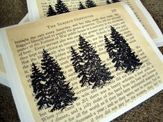 Literary Cards  Pine Trees  Set of 3 by CantonBoxCompany on Etsy, $4.00