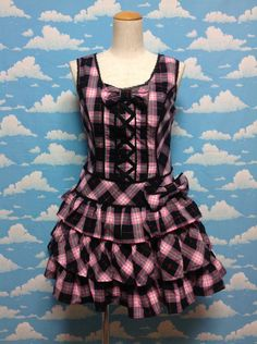 Meringue Tartan 3 Stage Frill JSK in Black from Angelic Pretty - Lolita Desu