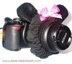 Bear Rabbit Bear Crafts: DIY Lens Scrunchie- {Bling for Your Camera} Hey Deborah!!!